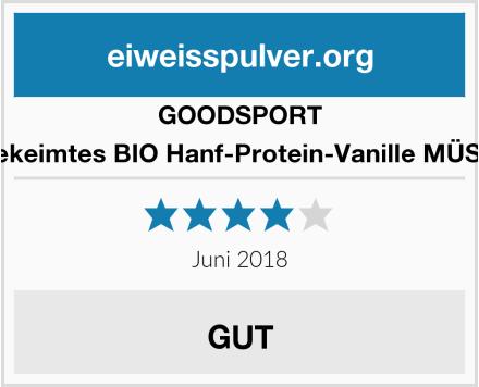 GOODSPORT gekeimtes BIO Hanf-Protein-Vanille MÜSLI Test